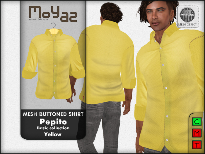Pepito Mesh Buttoned Shirt - Basic Collection - Yellow