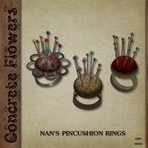 CONCRERE FLOWERS- NAN'S PINCUSHION RINGS