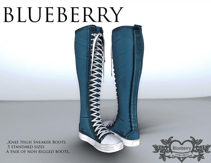 Blueberry Knee High *Mesh* Sneaker Boots Blue
