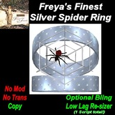 Freya's Finest Silver Spider Ring Opt Bling / Resizer
