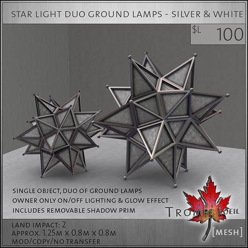 Trompe Loeil - Star Duo Ground Lamp Silver & White [mesh]