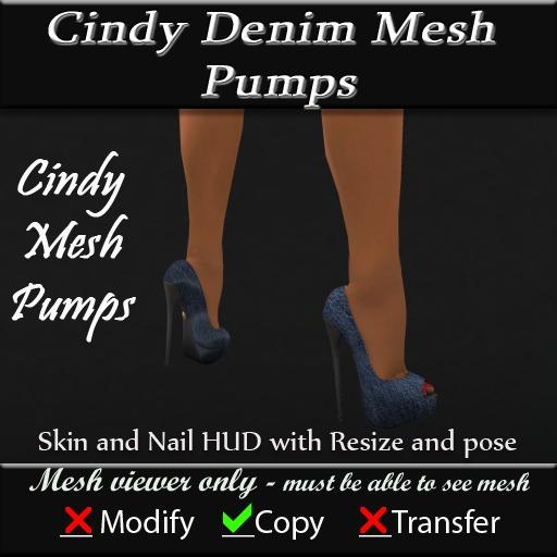 Cindy Denim Mesh Pumps v3