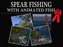 Spear Fishing Chore with Animated Fish and Spear Giver