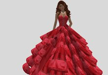 red Silk layers Gown Boxed 2009