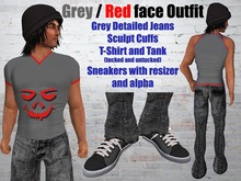 Grey Jeans and TShirt/Tank with red face .:: EON ::.