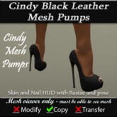 Cindy Black Leather Mesh Pump v3