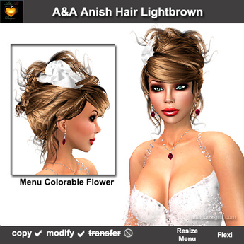 A&A Anish Hair Lightbrown. Updo with flexi curls and menu colorable flower.  PROMO Color