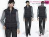 FULL PERM CLASSIC RIGGED MESH Men's Male Turtleneck Sleeveless Closed Front Padded Vest Coat Jacket - 3 TEXTURES