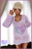 *AIK*  Kawaii Mesh Heart Sweater + Overknee Heart Socks