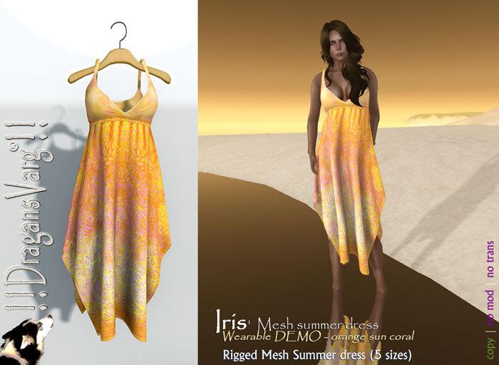 !! DragansVarg !! Iris mesh summer dress orange PROMO wearable Demo