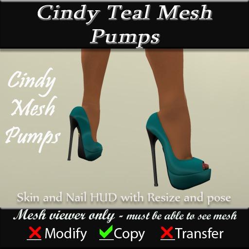 Cindy Mesh Teal Pumps v3