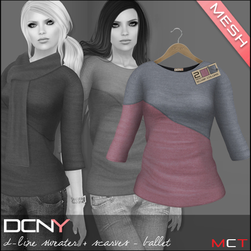 DCNY Mesh D-Line Sweater & Scarves in Ballet