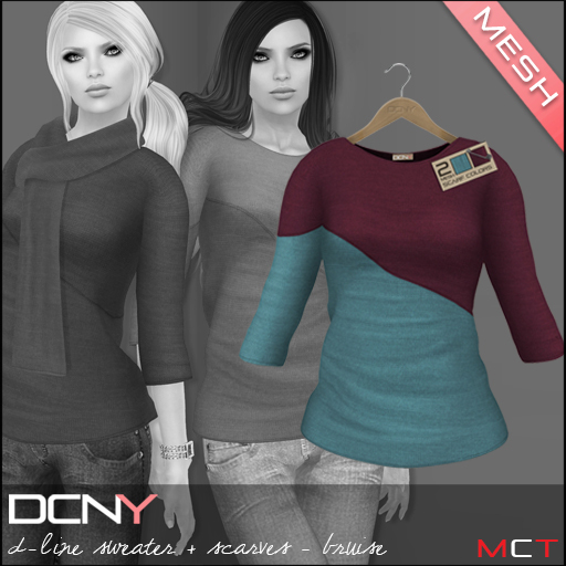 DCNY Mesh D-Line Sweater & Scarves in Bruise