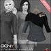DCNY Mesh D-Line Sweater & Scarves in Khol