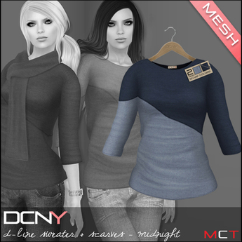 DCNY Mesh D-Line Sweater & Scarves in Midnight