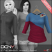 DCNY Mesh D-Line Sweater & Scarves in Berries