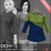 DCNY Mesh D-Line Sweater & Scarves in Peacock