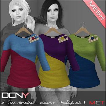 DCNY Mesh D-Line Sweater & Scarves in Multipack 3