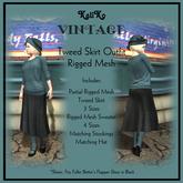 KaliKo Vintage - Tweed Skirt Outfit - Sky
