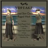 KaliKo Vintage - Tweed Skirt Outfit - Moss