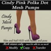 Cindy Pink Polka Dot Mesh Pumps v3