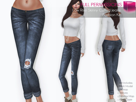FULL PERM CLASSIC RIGGED MESH Women's Female Ladies Low Rise Rolled Leg Skinny Ripped Denim Jeans - 5 TEXTURES