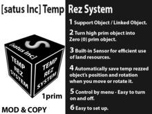 [satus Inc] Temp Rez Object Script (for In world store purchase)