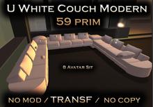 U White Couch Modern Style  59 prim