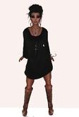 Mesh Long Sleeved Dress Black