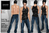 Shiver -Outfit- Camo Tank Top Black, Jeans Dark Blue With Belt