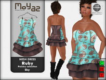 Ruby Mesh Dress - Paisley collection - Sky