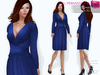 FULL PERM CLASSIC RIGGED MESH Women's Deep Cleavage Long Sleeve Midi Ruffled Skirt Wrap Cocktail Dress - 3 TEXTURES