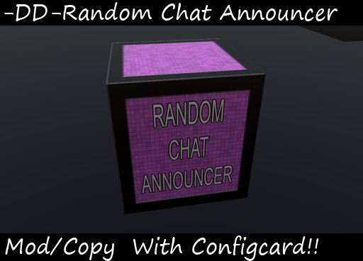 Random chat announcer with configuration notecard