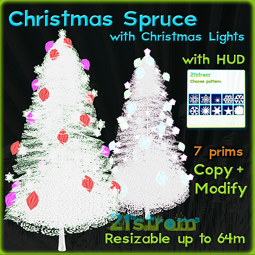 Christmas Tree - Spruce with color changing balls and pulsing lights + HUD. Copy, full modify, fully sculpted
