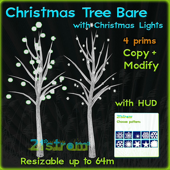 Christmas Tree - Bare with pulsing lights + HUD. Copy, full modify, fully sculpted