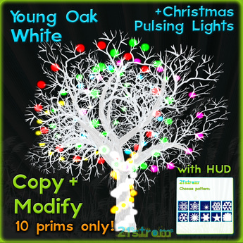 White Oak with pulsing Christmas lights + HUD. Copy, full modify, fully sculpted winter tree