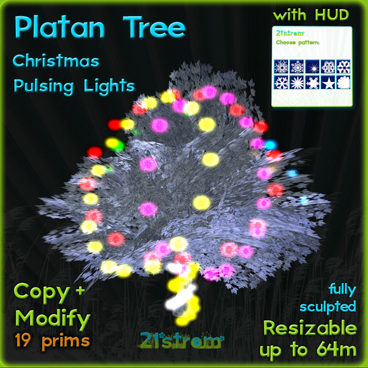 White Platanus tree with pulsing Christmas lights + HUD. Copy, full modify, fully sculpted winter tree