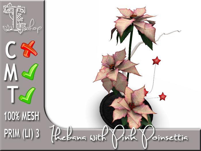 Terrashop - Ikebana with Pink Poinsettia 100% original mesh