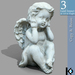 3D / Baby Angel Statue / 3 land impact