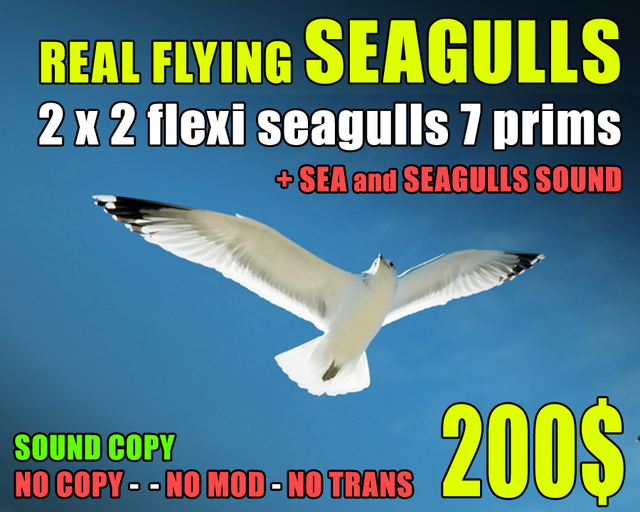 7 PRIMS - 2x Realistic flying seagulls with sound included