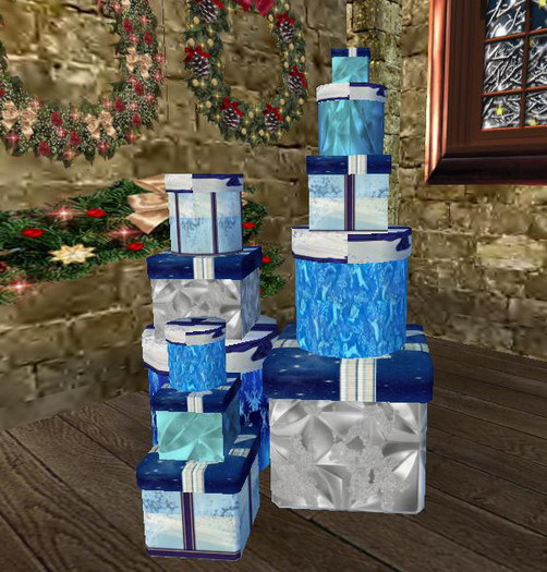 Mesh:11 Gift Boxes  Mixed Neat Stack Blue Xmas Patterns