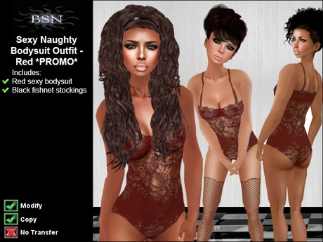BSN Sexy Naughty Bodysuit Outfit - Red *PROMO*