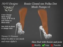 Roxie B/W closed toe Polka Dots Mesh Pumps v1