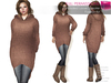 FULL PERM CLASSIC RIGGED MESH Women's Female V-Neck Long Sleeve Oversized Hooded Sweater Jumper Tunic - 5 TEXTURES