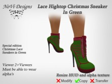 Lace Green Christmas High Heel Sneakers