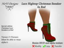 Lace DOLLARBIE Red Christmas High Heel Sneakers