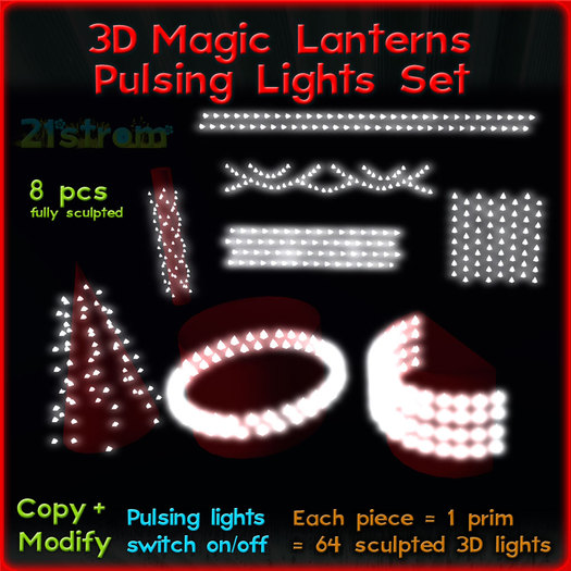 Christmas Magic Lantern Pulsing Lights: set of 8 pcs each 1 prim with 64 real 3D sculpted lights. Copy, full modify