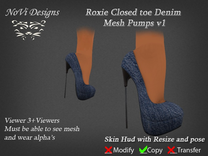 !.:Roxie Closed toe Denim Mesh Pumps v1