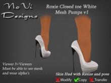 Roxie White Closed Toe Mesh Pumps v1