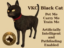 VKC® Black Cat - Artificially Intelligent (AI) Trainable Pathfinding Cat - No Food Required - Virtual Kennel Club Dogs